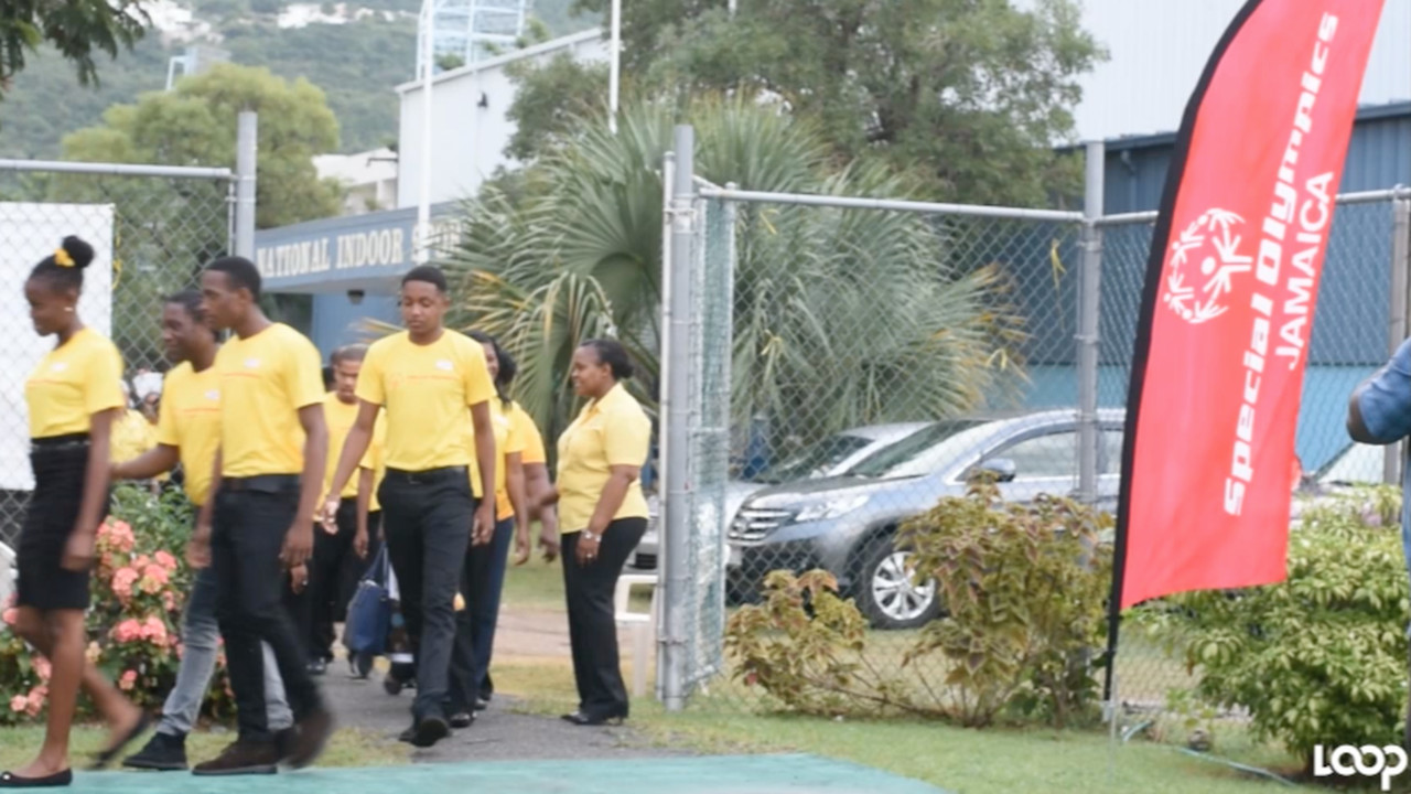 Jamaica's Special Olympians arrive for a press conference last Friday.