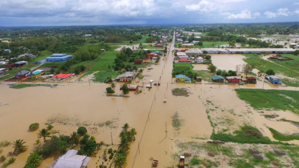 Photo: Aerial view of flooding in Trinidad after torrential rains from October 18-22, 2018.