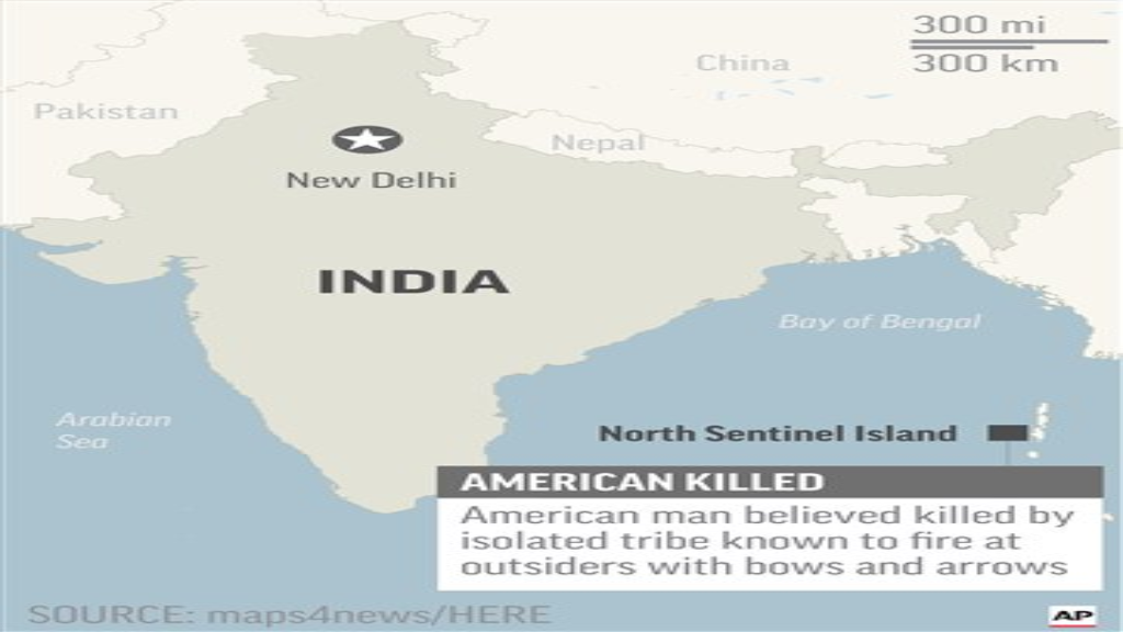 Map locates North Sentinel Island, India, where an American was believed killed by isolated tribe; via AP.
