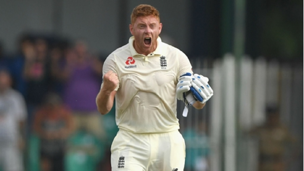 Jonny Bairstow celebrates his sixth Test century.