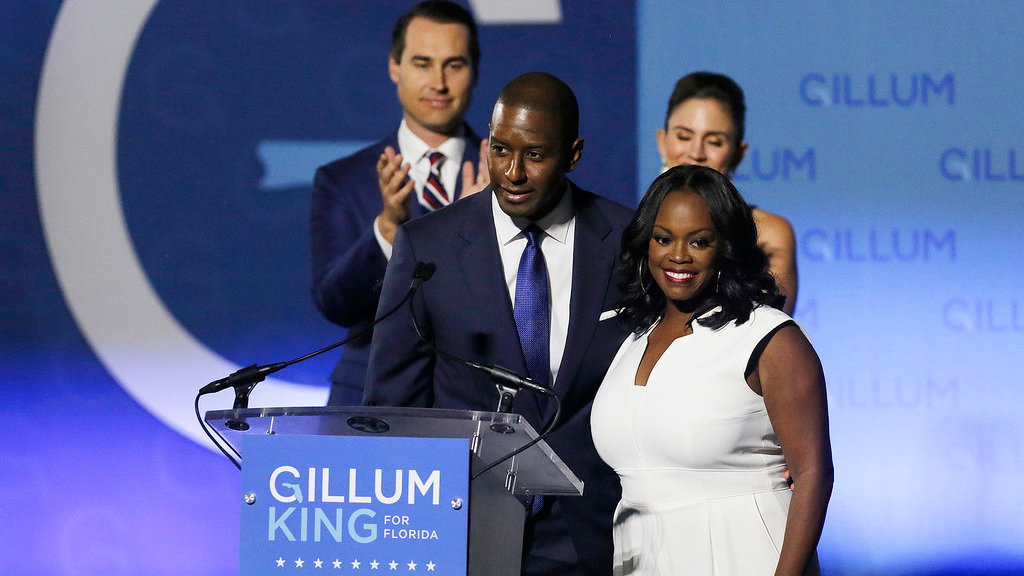Florida Gubernatorial Democratic candidate Mayor Andrew Gillum gives his concession speech along side his wife First Lady R. Jai Gillum, running mate Chris King and his wife Kristen King on the campus Florida A&M University in Tallahassee, Fla., on Tuesday, Nov. 6, 2018. (Octavio Jones/The Tampa Bay Times via AP)