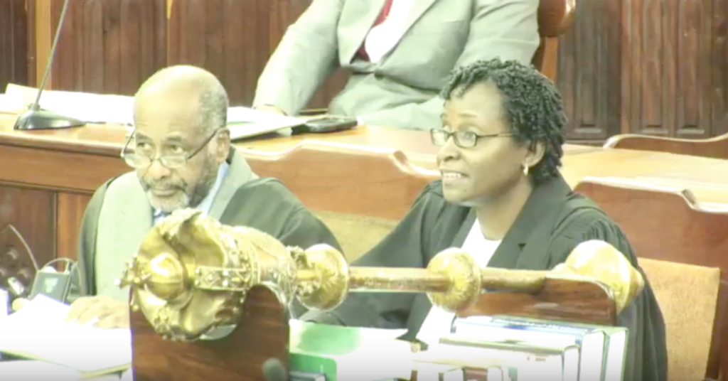 Barbados first Deputy Parliamentary Clerk Beverley Gibbons (left).
