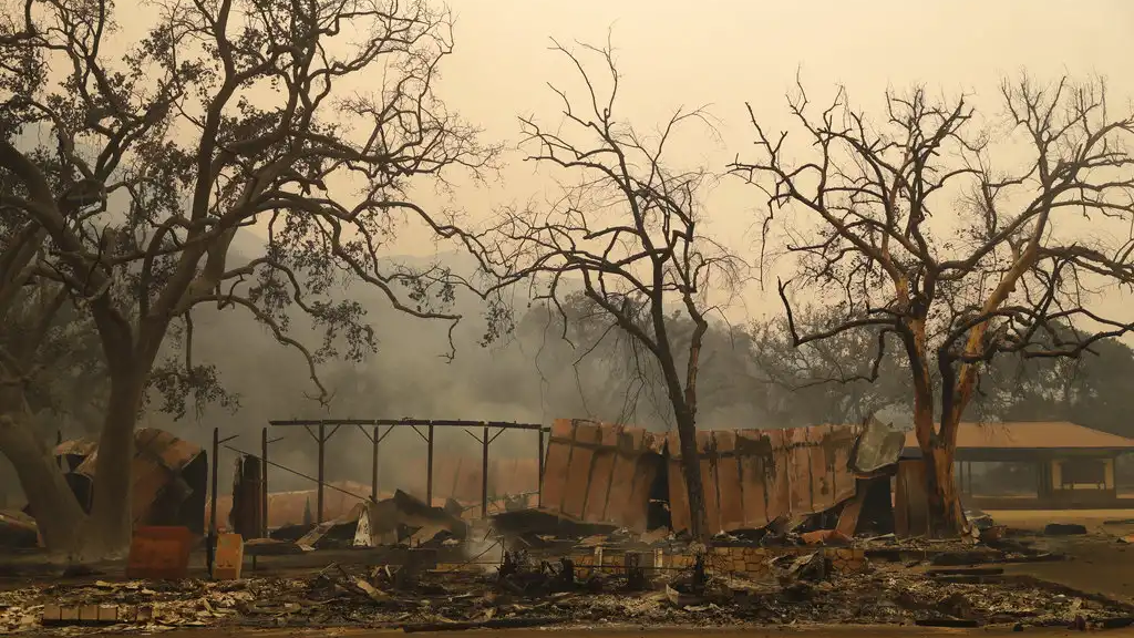 Paramount Ranch, where a number of Hollywood westerns have been filmed, is seen after it was decimated by a wildfire Friday, Nov. 9, 2018, in Agoura Hills, Calif. (AP Photo/Marcio Jose Sanchez).