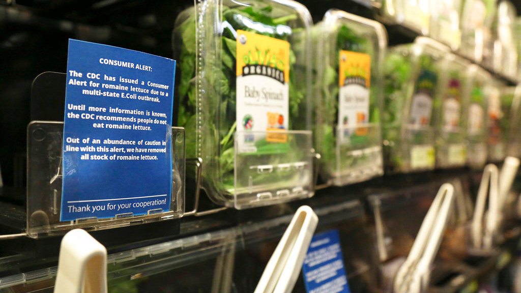 In this Nov. 20, 2018, file photo Romaine lettuce is removed from the shelves of the East End Food Co-op and other local grocery stores due to a recent consumer alert regarding a multi-state E.Coli outbreak in Pittsburgh.