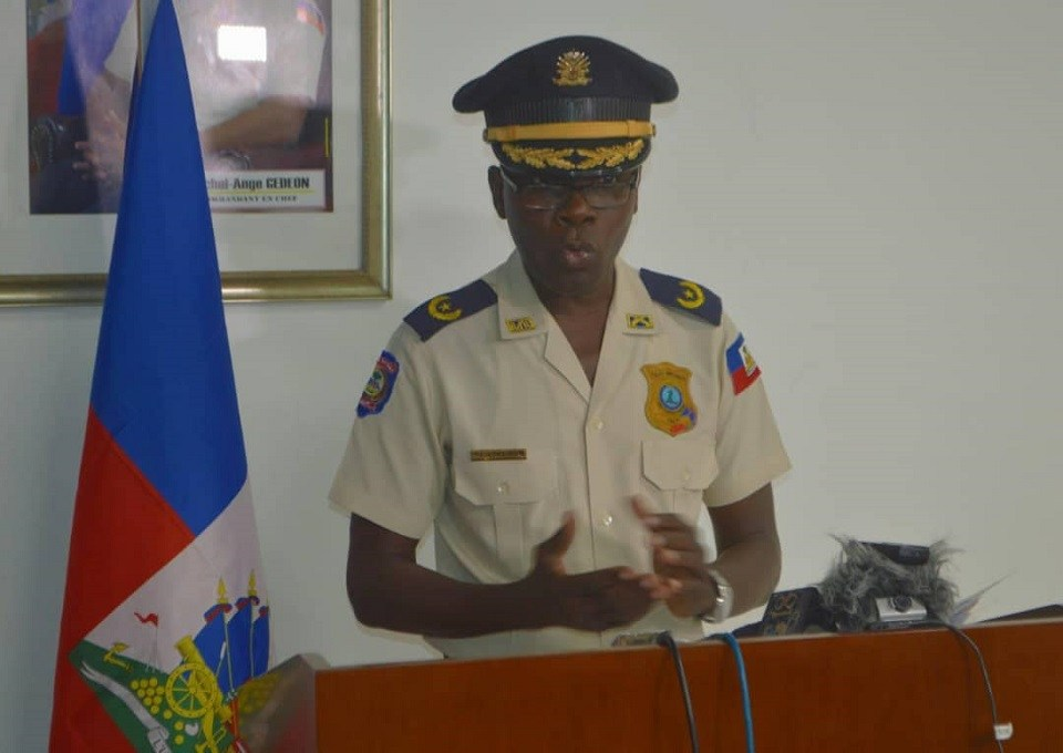 Le porte-parole de la Police Nationale d'Haiti, Michel-Ange Louis-Jeune