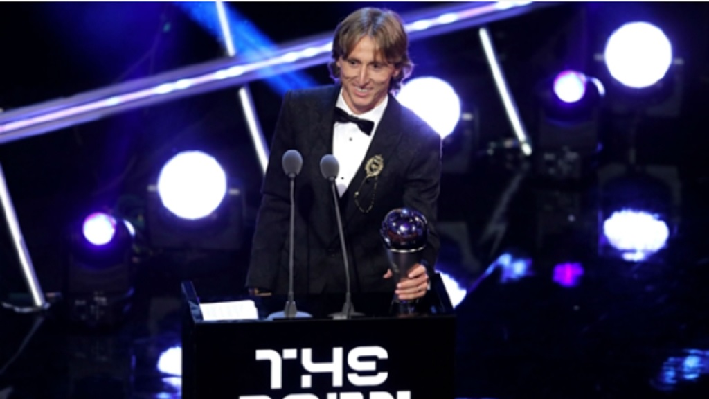 Luka Modric with the FIFA Best Men's Player award.