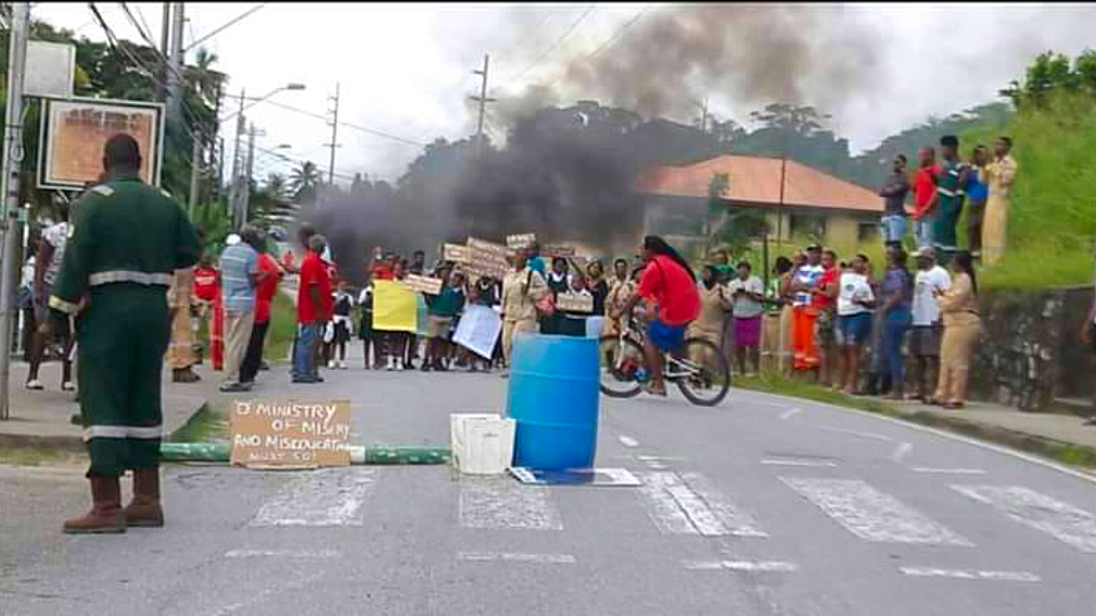 Photo: On November 5, 2018, Residents protested the closure of the Guayaguayare RC school, which was closed for repairs since the start of the school term. Councillor Kyron James said repairs at the school were ongoing.
