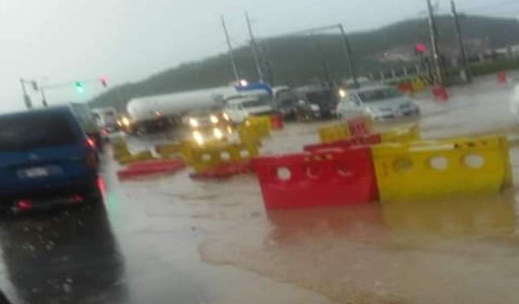 A section of the flooded Mandela Highway on Monday.