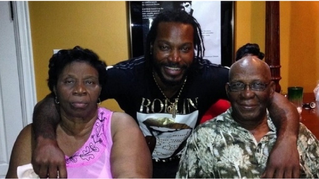 Chris Gayle with mother and father.