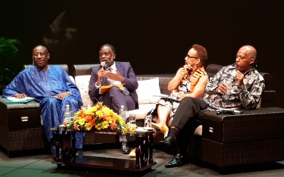(L-R) Professor Adekeye Adebajo, Professor Tshilidzi Marwala, Professor Eudine Barriteau and Sir Hilary Beckles.