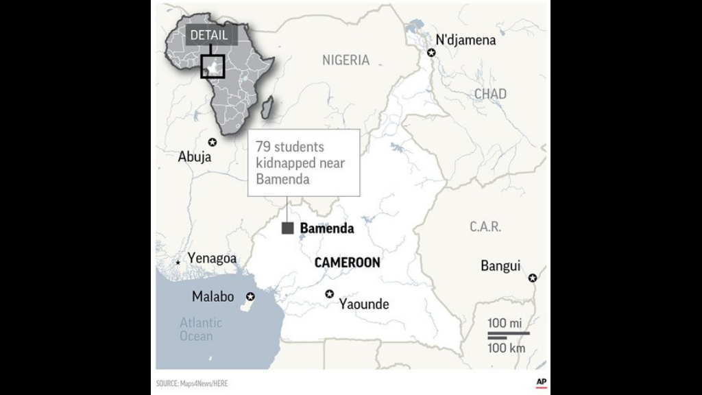 Armed separatists kidnapped at least 79 students and three staff members from a Presbyterian school in a troubled English-speaking region of Cameroon, the governor said Monday.