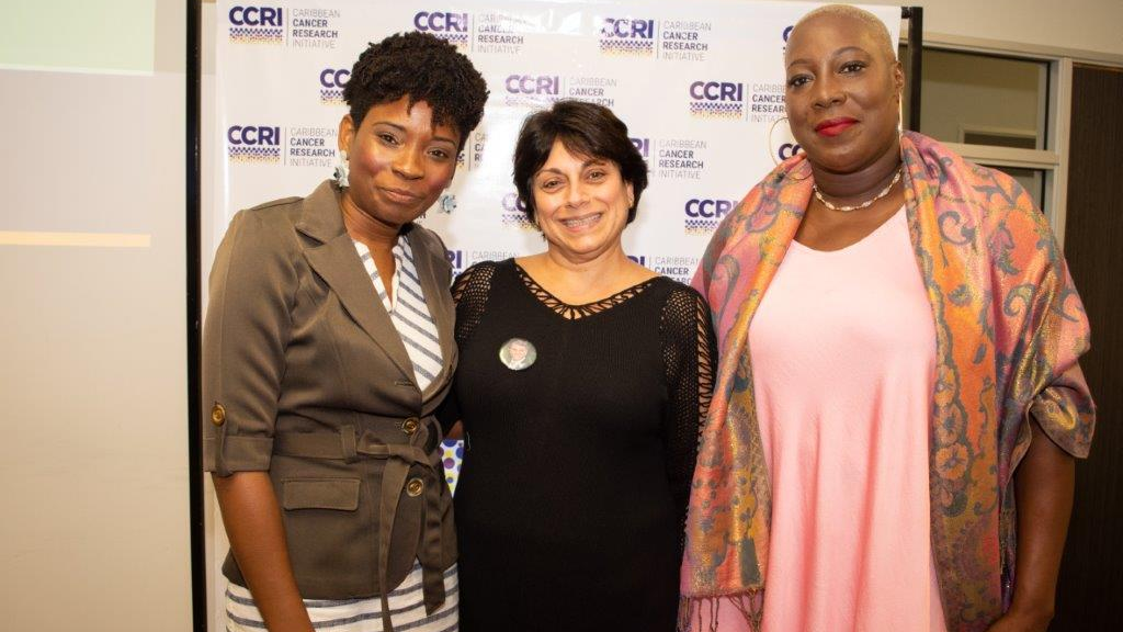From left Kimberly Badal, Co-founder & Executive Director Caribbean Cancer Research Initiative, Natalie Sabga, Founder John E Sabga Foundation for Pancreatic Cancer, Karen Gomez Antoine Breast Cancer Survivor and Advocate.