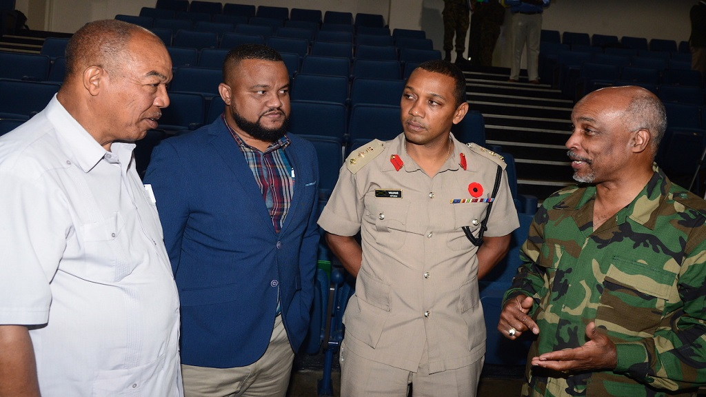 "JOA President Christopher Samuda (right) speaks passionately about Pan Am Games in Lima, Peru in 2019 to (from left) Dr Warren Blake, President of JAAA; Ryan Foster ,CEO of JOA; and  Col Mahatma Williams, Chairman of the JDF, Sports Board. This was at the official press launch of "" Lima Invasion "" held at the Up Park Camp on Tuesday ,November 6,2018."