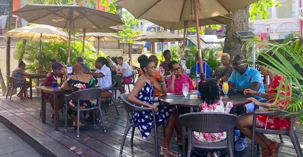 Customers at Patisserie & Bistro Flindt's last location at 1st Street, Holetown, St. James (Facebook image)