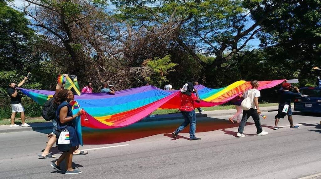 Members of the Jamaican LGBT community march in Montego Bay, St James.