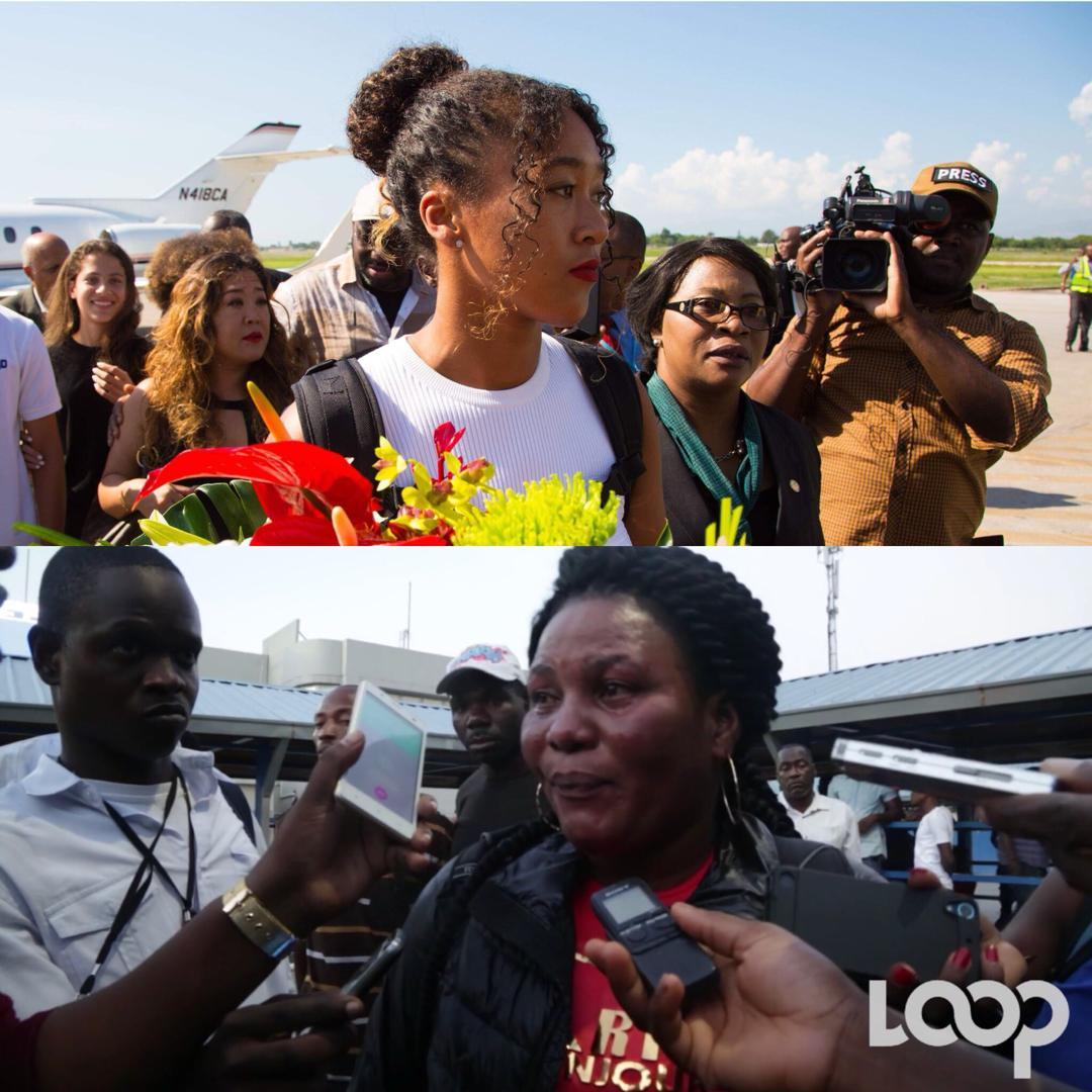 En Haiti, Naomi Osaka, Joueuse de Tennis japonaise d'origine Haïtienne/ En bas, une migrante Haïtienne revenant du Chili
