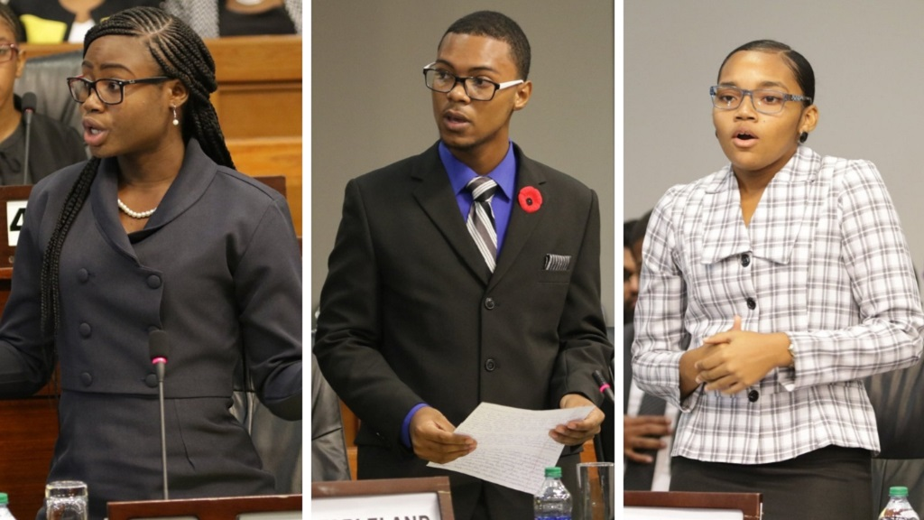 Photo L-R: Students Maya London, Zion Freeman and Tamika Thomas took part in the National Youth Parliament debate on November 12, 2018.