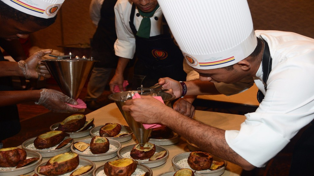 Moon Palace Jamaica's culinary team prepping the dishes.