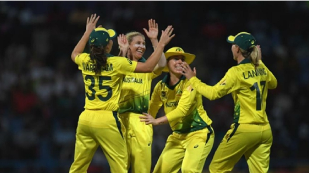Australia celebrate aa West Indies wicket.