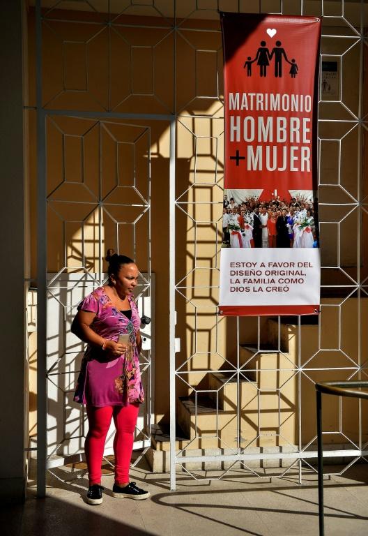 Une affiche de la réforme constitutionelle cubaine à La Havane, le 13 novembre 2018