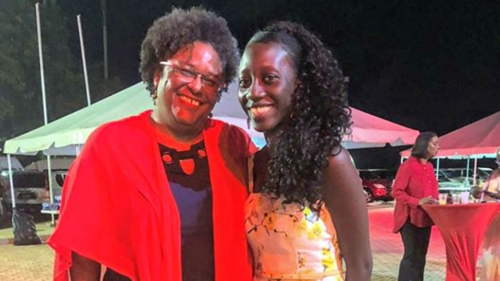 Prime Minister Mia Mottley and LaShawna Griffith at the Barbados Labour Party (BLP) Conference.