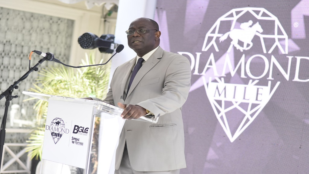 Vitus Evans, Betting, Gaming and Lotteries Commission executive director addressing the launch of the 2018 Diamond Mile Race Day at Devon House.