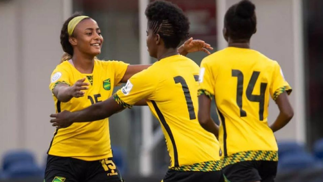 Khadija Shaw (centre) celebrates with teammates after the Reggae Girlz defeated Panama 4-2 on penalties  in the third-place playoff match at the 2018 Concacaf Women's Championship on October 17 at the Toyota Stadium in Texas to qualify for their first Women's World Cup.