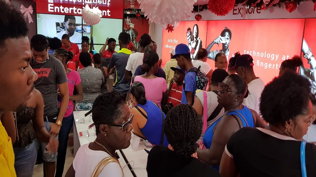Vincentians flocked the Digicel Flagship store- The Cell to benefit from the day's handset offer