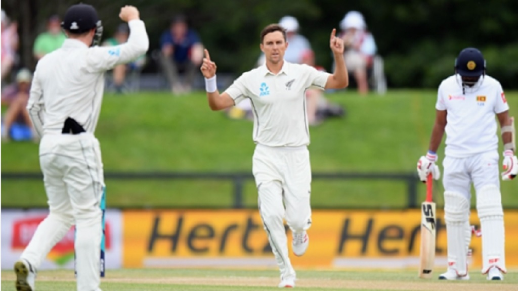 Trent Boult celebrates a wicket during New Zealand's victory over Sri Lanka in Christchurch.