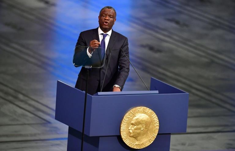 Nadia Murad et Denis Mukwege reçus par la présidente du comité Nobel Berit Reiss-Andersen à Oslo le 10 décembre 2018