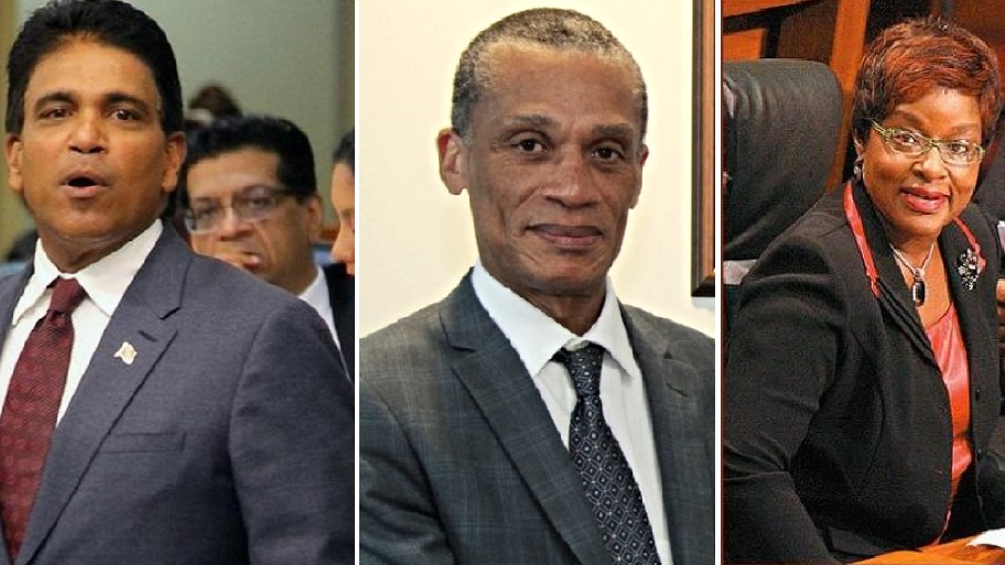 Former Housing Minister Roodal Moonilal (left), Foreign and CARICOM Affairs Minister (centre), Planning and Development Minister Camille Robinson-Regis (right)