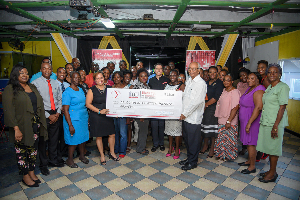 Red Stripe, through its D&G Foundation donated 56 grants of $100,000 to several groups as part of the company's 100th anniversary celebration.