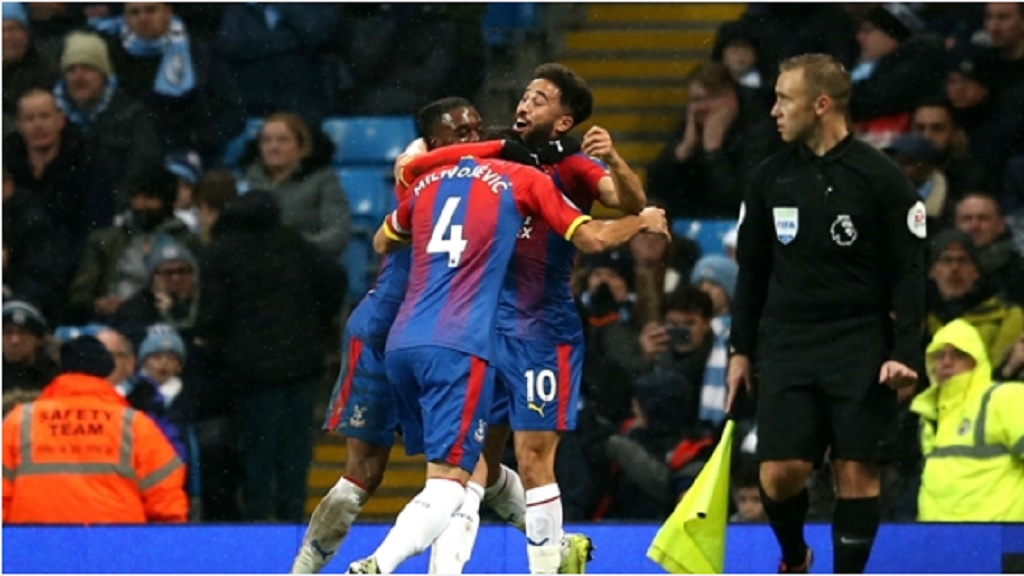 Andros Townsend celebrates at Manchester City.