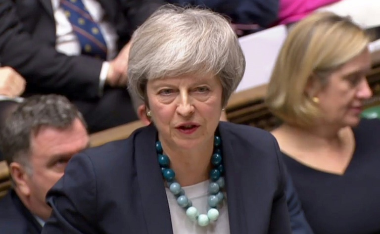 Theresa May, le 10 décembre 2018 devant la Chambre des Communes de Londres, lorsqu'elle a annoncé le report du vote sur l'accord de Brexit