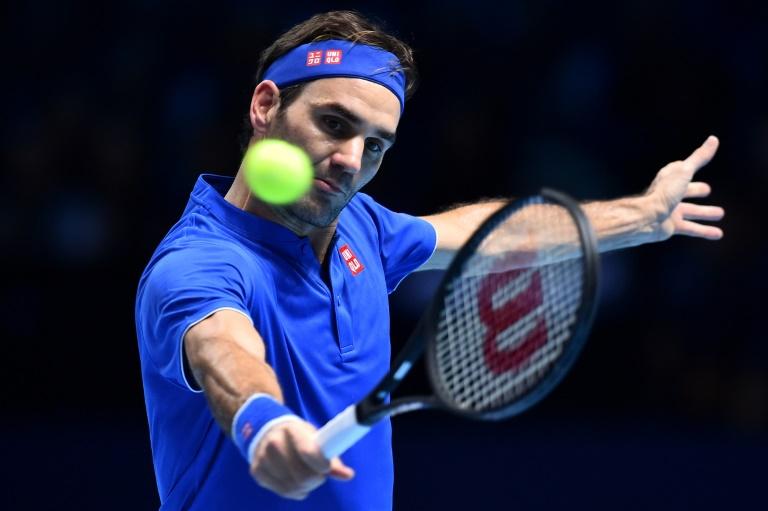 Le Suisse Roger Federer face au Sud-africain Kevin Anderson lors du Masters de Londres, le 15 novembre 2018