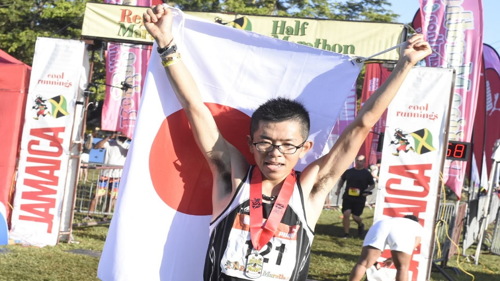Daichi Okano of Japan after winning the Reggae Marathon on Sunday. (PHOTOS: Marlon Reid)