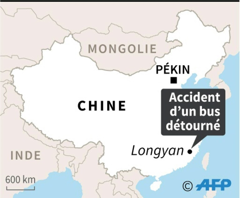 Localisation de l'accident d'un bus détourné qui a fait plusieurs morts et blessés mardi dans la ville de Longyan