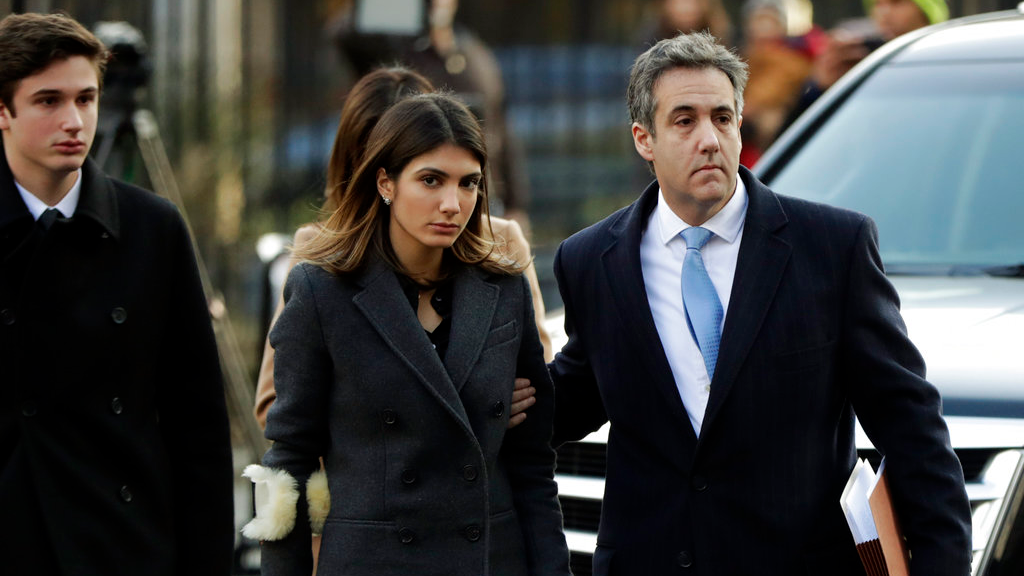 Michael Cohen, right, President Donald Trump's former lawyer, arrives at federal court with his daughter, Samantha Cohen, center, and son, Jake Cohen. (AP Photo/Julio Cortez)