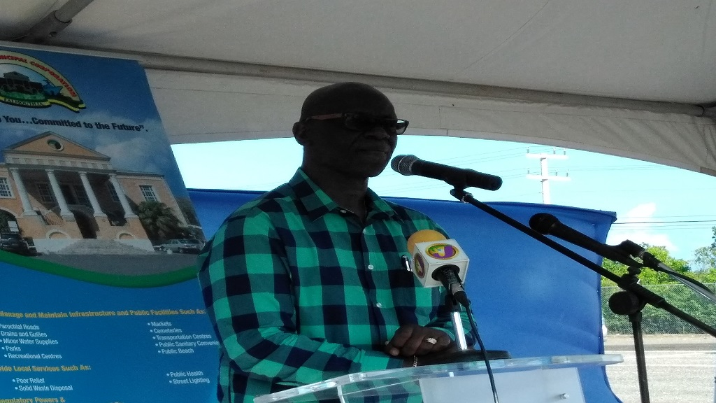 Minister Desmond McKenzie addressing the opening ceremony for the new Falmouth Market in Trelawny.