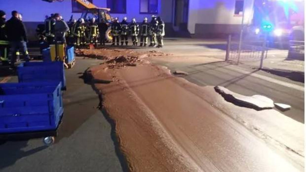 The spilt chocolate froze when it reached this road in Werl, Germany. Photo / Feuerwehr Werl AP.