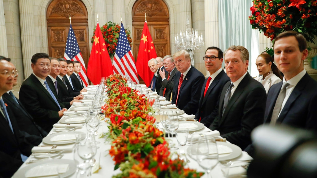 President Donald Trump with China's President Xi Jinping and members of their official delegations during their bilateral meeting at the G20 Summit, Saturday, Dec. 1, 2018 in Buenos Aires, Argentina. (AP Photo/Pablo Martinez Monsivais)