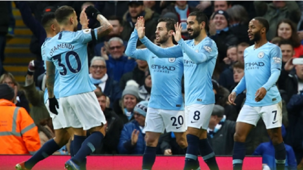 Manchester City players celebrate against Crystal Palace.