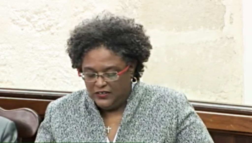 Prime Minister Mia Mottley delivering her ministerial statement in Parliament.