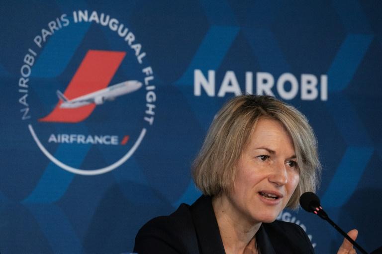 Anne Rigail lors d'une conférence de presse à l'occasion du lancement de la ligne Paris-Nairobi, à Nairobi le 26 mars 2018