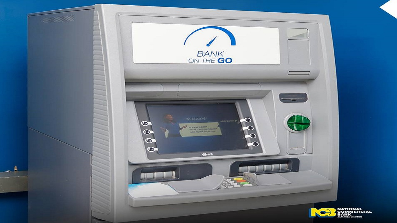 NCB is promoting its Bank on the Go Self Service.
