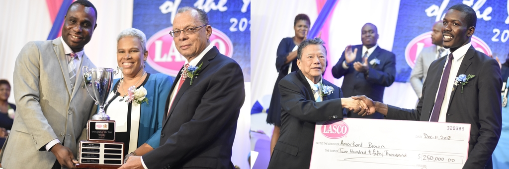 Margaret Campbell, principal of St George's College, and Amorkard Brown a teacher at Munro College, were lauded for their work over the years at their respective institutions. (Photos: Marlon Reid)