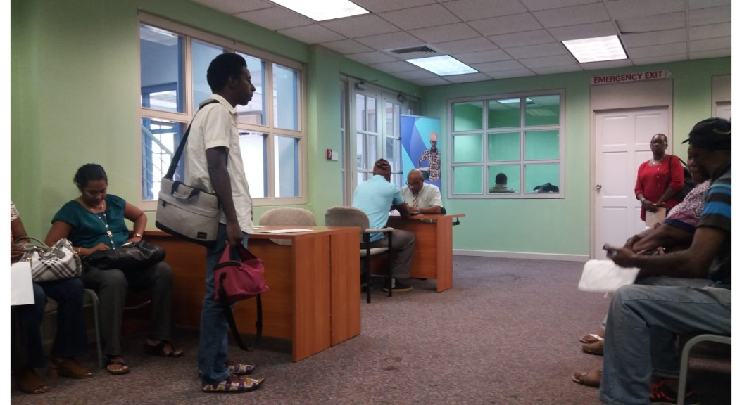 Persons waiting to do business with the Barbados Investment Development Corporation (BIDC) Trust Fund. (Michron Robinson photo)