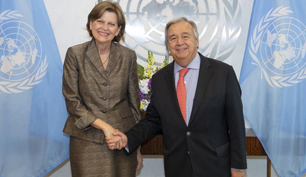 A droite, Hélène La Lime, Représentante spéciale du Secrétaire général des Nations-Unies./Photo:MINUJUSTH