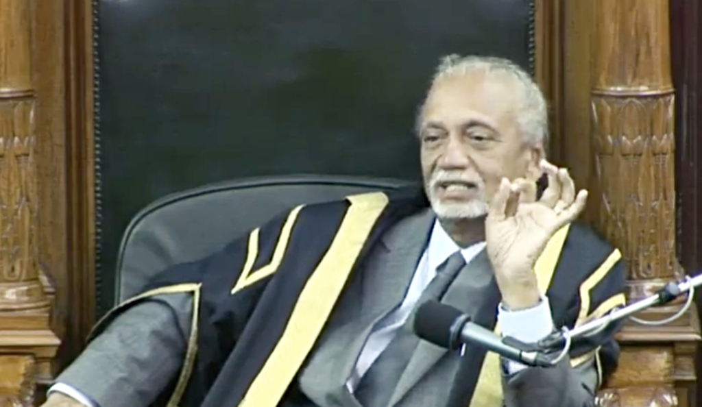 Speaker of the House Arthur Holder warns Members of Parliament.