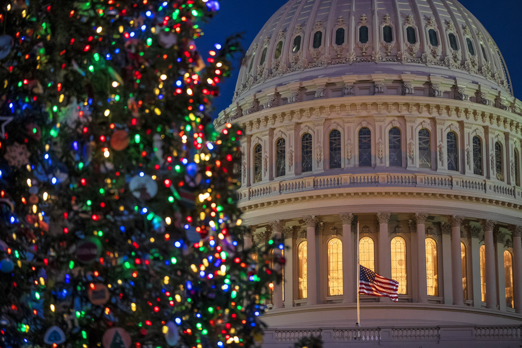 The Capitol is seen at twilight in Washington, Monday, Dec. 17, 2018. (AP Photo/J. Scott Applewhite)